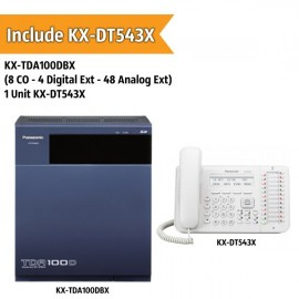 Panasonic KX-TDA100DBX PABX System (8 CO - 4 Digital Extension - 48 Analog Ext)